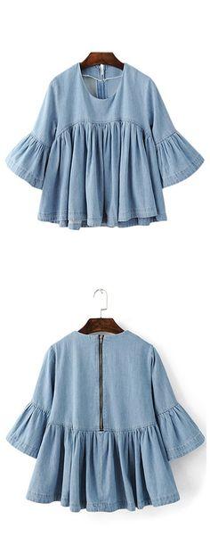 Blue Bell Sleeve Ruffle Denim Doll Blouse