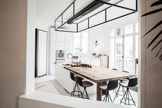 doorkijkje-eetkamer-keuken Double Vanity, Project 4, Bathroom, Kitchens, Industrial, Paris, Home, Washroom, Montmartre Paris