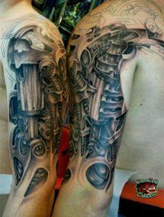 3d biomechanical alien tattoo on half sleeve - http://tattooswall.com/3d-biomechanical-alien-tattoo-on-half-sleeve.html #3d, alien, biomech tattoos, biomechanical, half, on, sleeve, tattoo
