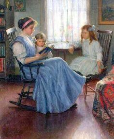 """""""Mother Reading With Two Girls"""", by American artist Lee Lufkin Kaula.(1865-1957)"""