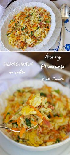 Esse arroz primavera leva sobras do arroz agulhinha, flocos de ovos mexidos na manteiga, cenoura ralada, presunto e cebolinha picada. Vai bem com quase tudo, é super fácil de fazer e rapidinho. Dez minutos e pronto para servir!