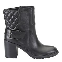 """Street chic quilted bootie with hardware detail.  Pull on almond toe 3 1/4""""  bootie with lug sole.  Leather upper."""