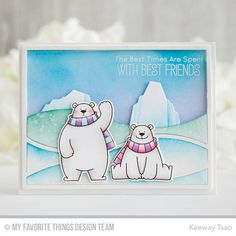 Handmade card from Keeway Tsao featuring Chill Wishes stamp set and Die-namics and Horizontal Snow Drifts Cover-Up and Iceberg Die-namics #mftstamps