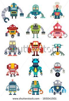 Set of cute future robots, Robots vector set, illustrator vector - stock vector