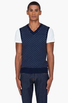 J.LINDEBERG Navy Polka Dot Jacquard Wool Vest