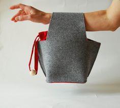 Gray handbag felt and silk  – geometric shape - modern handbag by robedalez on Etsy https://www.etsy.com/listing/173315740/gray-handbag-felt-and-silk-geometric