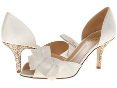 Kate Spade New York Sala Ivory Satin/Gold Glitter Heel - Zappos Couture