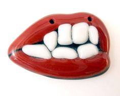 Vampire Teeth Fused Glass Focal Pendant or by buttonsbyrobin2, $10.00