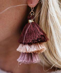 Loving this Maroon & Peach Triple-Tiered Tassel Earrings on #zulily! #zulilyfinds