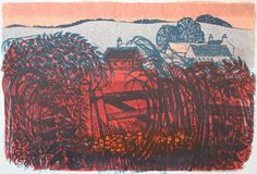 'Evening Downscape' by English artist printmaker Robert Tavener Lithograph, edition of 38 x 56 cm. via Emma Mason British Prints Linocut Prints, Art Prints, English Artists, Landscape Prints, Illustration Artists, Illustrations, Print Artist, Art Studios, Painting & Drawing