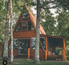 Micro House Plans you need to see today! Tiny House Cabin, Log Cabin Homes, Cozy House, A Frame Cabin, A Frame House, Cabin Design, Tiny House Design, Casas Containers, Cabin In The Woods