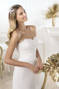 2014 Airy Wedding Dresses Strapless Mermaid/Trumpet With Appliques And Beads New Arrinal
