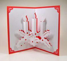 Biglietti Natale pop up fai da te - Biglietti pop up di Natale fai da te: candele