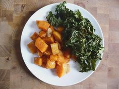 Butternut squash & kale chips.  Both of which I need to use up, I'll have to try this.