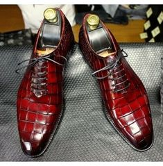 Handmade Mens Burgundy Lace up shoes, Men Crocodile Patterned dress shoes sold by Rangoli Collection. Shop more products from Rangoli Collection on Storenvy, the home of independent small businesses all over the world. Leather And Lace, Leather Dress Shoes, Lace Up Shoes, Leather Men, Real Leather, Cowhide Leather, Suede Shoes, Black Shoes, Brown Leather