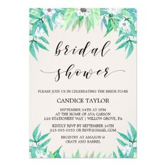 Greenery Botanical Wreath & Flowers Bridal Shower Card