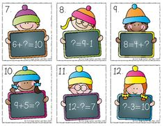 1.OA.D.8 Winter Missing Numbers Task Cards Freebie