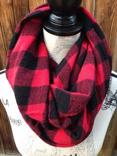 Red and Black Flannel Scarf