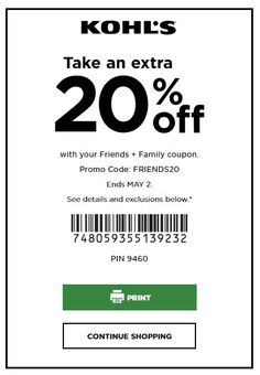 Store Coupons, 20 Off, Kohls, Friends Family, Saving Money, Promotion, Printable, Coding, Save My Money