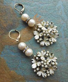 Pearl Enamel Flower Earrings Repurposed Vintage by Vinchique, $32.00