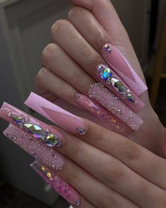 Bling Acrylic Nails, Gold Glitter Nails, Simple Acrylic Nails, Best Acrylic Nails, Rhinestone Nails, Spring Nails, Summer Nails, Glow Nails, Tina's Nails