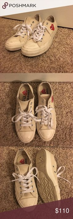 COMME des garçons play converse Worn a few times. In almost new condition, just a bit dirty on the front. Super easy to clean Im just too lazy to do it . Comes with box. Comme des Garcons Shoes