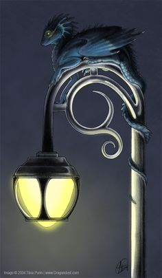 miniature dragons roosting upon a lamp post- A Shiny Perch by Dragondust