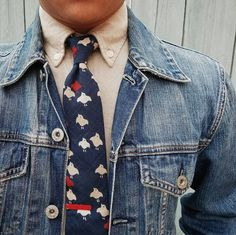 Button down heavy shirt, cut bird tie, blue denim jacket, just about perfect