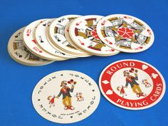 Vintage Round Playing Cards  Souvenir of Washington by FunkyKoala