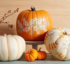 Use leaf-shape stencils for beautiful fall pumpkin display.