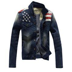 Mens Fall Winter Denim Shirt Stitching Fashion Slim Fit Turndown collar Jacket - Gchoic.com