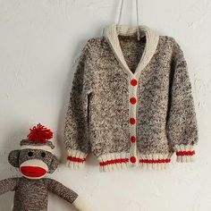 with matching sock monkey! (I love sock monkey stuff - Monique) Knitting Blogs, Sweater Knitting Patterns, Cardigan Pattern, Knitting For Kids, Knitting Socks, Knit Patterns, Baby Knitting, Knitting Ideas, Free Knitting