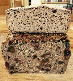 Organic flame raisin and activated seeds and plain gluten free wholemeal sourdoughs.