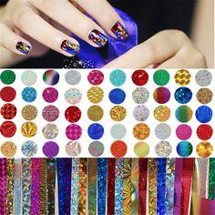 50 Unids/set Shimmer Estrellado Cielo Estrellado Hoja Del Clavo Colorido de Uñas Glitter Transfer Sticker Manicura Nail Art Decoración Accesorios