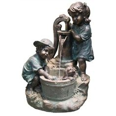 20-inch Girl with Dog Spout Bucket Fountain - Free Shipping Today - Overstock.com - 18594444