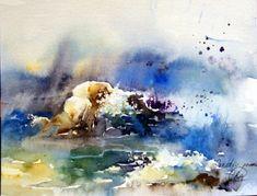 Creation - bright watercolor, ocean wave, light