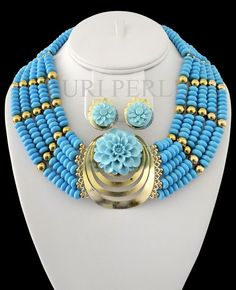 Nigerian wedding traditional jewelry by Zuri Perle African Beads, African Jewelry, Custom Jewelry, Handmade Jewelry, Nigerian Beads, Beaded Jewelry, Beaded Necklaces, Jewellery, Bridal Necklace