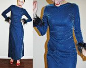 vintage 1960s / 1970s SHIMMER Midnight Blue Long Dress with Feather Cuffs / Sleeves