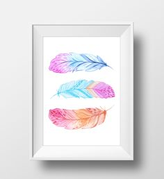 Feathers print Nature decor Three Feathers printable Watercolor feathers Wall…
