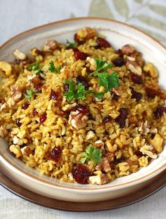 Curried Cranberry Walnut Rice  Note: use tamari not soy sauce