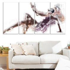 Design Art Ballet Ballerina, 4 Panels, 48 inch x 28 inch, Size: Oversized 41 inch+, Multicolor