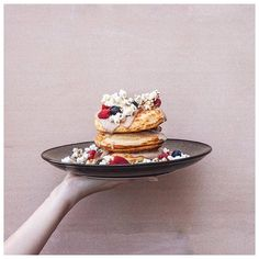 Hotcakes : Caramelised Banana Earl Grey Custard Maple Popcorn & Berries  Stack Em High & Left Them Fly! Who Doesn't Love A Stack When It Looks This Good?! : @4foodssake  #food #foodie #foodporn #foodstagram #instalove #instalove #instadaily #love #follow #photooftheday #hungry #getinmybelly #amazing #beautiful #bestoftheday #breakfast #melbournefoodie #sydney #hotcakes #fitspo #fitness #holiday #travel by dishin_itout
