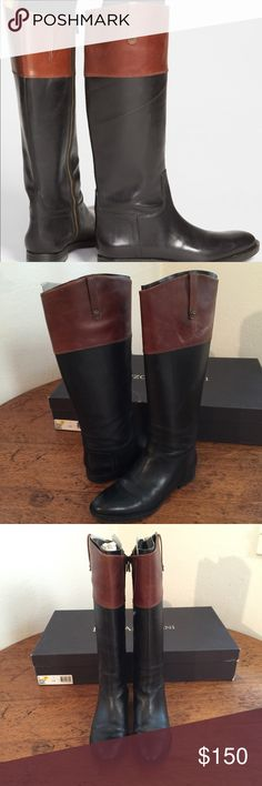 """Enzo Anglioni """"Ellerby"""" riding boot Fall is coming, ladies!! get yourself this Lovely two-tone LEATHER riding boot. I am the sole owner and have taken excellent care of these. VERY few signs of wear if any. Comes with originally box and stuffing. These are elegant on your feet. NOTE: size 8, however they run large, REALLY. I am ALWAYS an 8.5 and sized down to make them perfect. All of you true size 8s out there can easily wear thicker socks with these and make them work perfectly  open to…"""