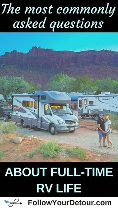 All the answers to the most commonly asked questions about full-time RV life! From how to get internet and mail on the road, how to choose the right RV, how much it costs to live on the road, and much much more! If you are dreaming of van life or RV life Rv Campers, Happy Campers, Teardrop Campers, Teardrop Trailer, Rv Travel, Time Travel, Travel Trailers, Camping Trailers, Airstream Trailers