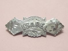 ANTIQUE-STERLING-SILVER-ISABEL-NAME-BROOCH-PIN-1898