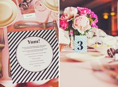 striped menu, pink floral centerpieces, chevron table numbers