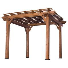 """A beautiful, cedar pergola that adds a """"Mediterranean feel"""" to any patio area. This pergola will give your patio wonderful, shaded, natural beauty that will let you enjoy hours of relaxation."""