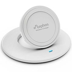 ELEPHAS Wireless Charger, Ultra-Slim Qi Wireless Inductive Phone Charging Pad Stand for Samsung Galaxy Note 5 / S6 / S6 Edge / S6 Edge Plus, Google Nexus 4/5/6/7, Nokia Lumia 920/950/950xl, LG, HTC and All Qi-Enabled Phones, White