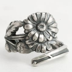 Daisy Ring, Sterling Silver Spoon Ring, Daises Flower Ring, July Gift, 5th Wedding, Handmade Gift, Adjustable Ring Size, International, 6276 by Spoonier on Etsy