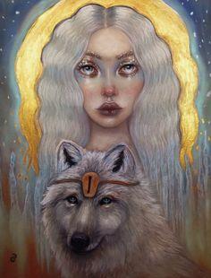 Isa original soft pastel painting Rune maiden by MoonSpiralart
